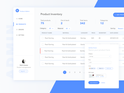 Product Admin filter left bar nav form table admin retail product dashboard
