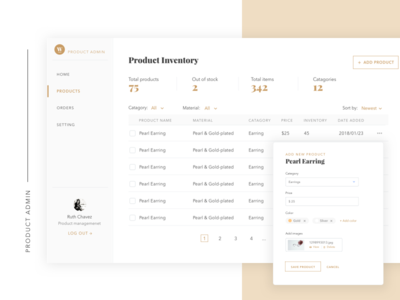 Product admin gold theme filter left bar nav form table admin retail product dashboard