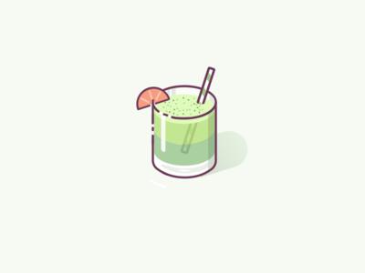 Matcha Milk Tea icon yummies food cup tea milk drink illustration