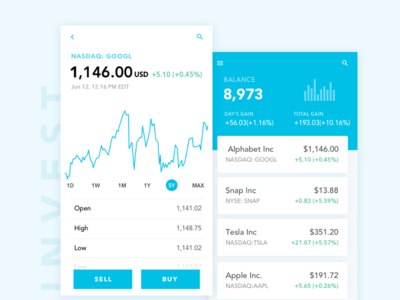 Investment APP stock trend card visualization number money finance investment product dashboard