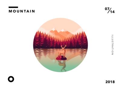 Mountain and Lake reflection elk deer lake tree cloud mountain illustration