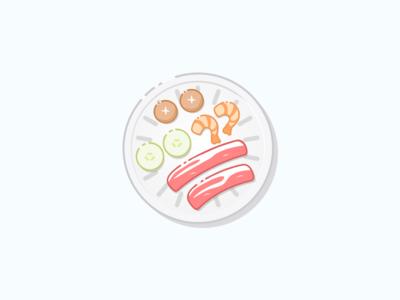 Korean BBQ shrimp vegetables yummies illustration food bbq