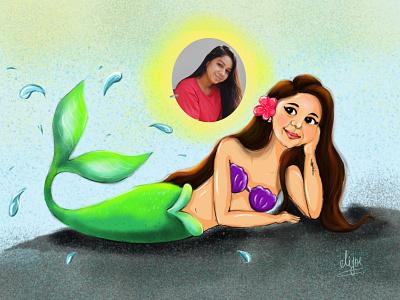 Mermaid Dreams. fishes dreams dreamcatcher cartoon mermaid mermaid colours canvas art creative cartoon illustration design cute girl colourfull illustration cartoon illustration cartoon character cartoon