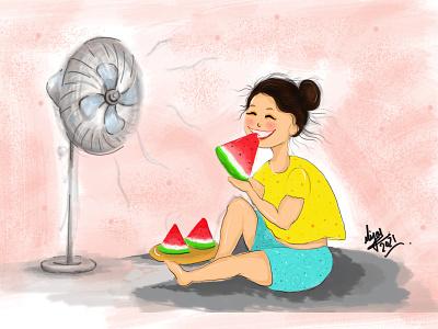 A Girl Enjoying Water-Melon yellow images fruits enjoy breezing air fan fantasy watermelon design cute girl creative cartoon colours colourfull illustration cartoon character cartoon canvas art