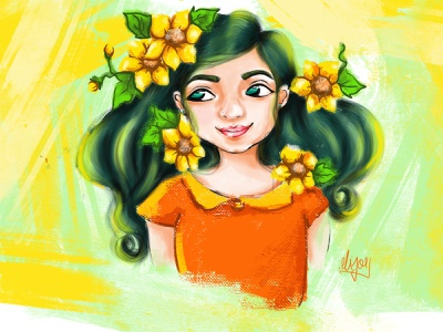 A Colorful Girl colourful background yellow background flower girl yellow girl yellow sunflower cartoon sunflower girl design illustration cute girl creative cartoon colours colourfull illustration cartoon character cartoon canvas art