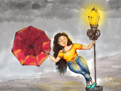 A Girl in a Rainy Day feelings cloudy sky lamp post blue jeans red umbrella yellow girl raining rainy day illustration design cute girl creative cartoon colours colourfull illustration cartoon character cartoon canvas art