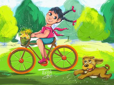 Cycling is Fun! girl and dog green nature sunnyday cartoon dog cycling photoshop design illustration cute girl creative cartoon colours colourfull illustration cartoon character cartoon canvas art