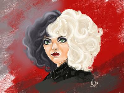 Cruella disney red background black and white hair design illustration cute girl creative cartoon colours colourfull illustration cartoon character cartoon canvas art
