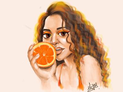 Orange Lady orange illustration orange lady orange colours canvas art illustration design cute girl creative cartoon colourfull illustration cartoon character cartoon or logo graphic design animation