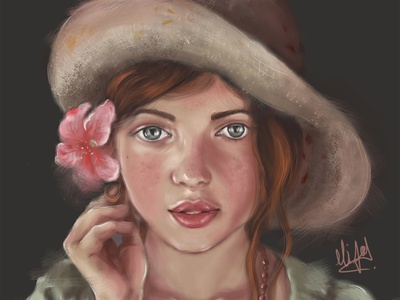 Expression! expression pink flower girl with hat illustration design cute girl creative cartoon colours colourfull illustration cartoon character cartoon canvas art graphic design