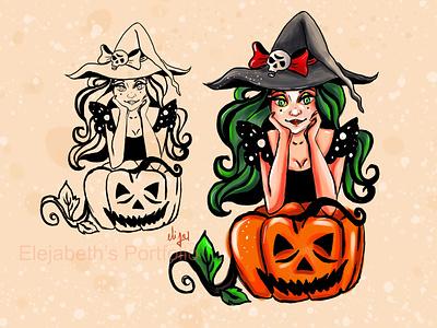 Halloween Witch! halloween drawing witch drawing halloween drawing artwork painting portrait painting illustration design cute girl creative cartoon colours colourfull illustration cartoon character cartoon canvas art