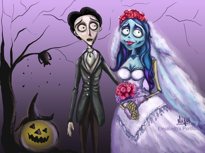 The Corpse Bride scary couple the corpse bride artist halloween drawing character drawing realistic portrait portraitpainting portrait halloween artwork graphic design illustration design cute girl creative cartoon colours colourfull illustration cartoon character cartoon canvas art