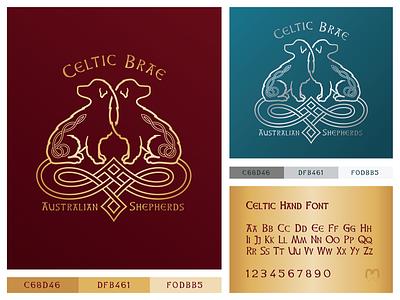 Australian Shepherds Logo Design in Celtic style silver golden petshop animal clinics veterinary kennel dog logo mithology irish intertwined logo design celtic logotype knotwork knots celtic knot