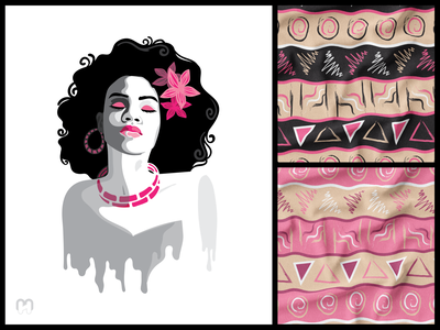 Stencil portrait of the African woman and a tribal pattern stencils ilustration design greyscale pink color woman portrait fabric design fabric mockup afro african art textile print textile pattern fabric print tribal seamless pattern surface pattern african woman african stencil art stencil illustration
