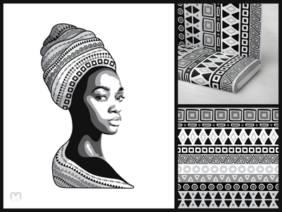 Stencil portrait of an African girl with a tribal pattren hand drawn black and white repeating pattern mockups fabric mockup woman illustration woman portrait girl portrait stencil art stencils tribal seamless pattern textile pattern textile print fabric design fabric pattern african art african design african woman africa