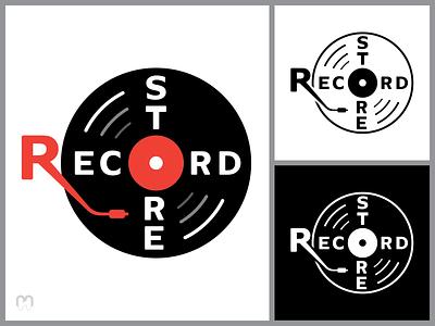 A record store logo concept vintage retro record store grey red black and white gramophone needle vinyl record graphic design design logo logotype logo design