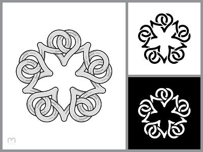 Celtic heart-shaped knot logo design irish celtic traditional art hearts ornaments grey black and white loop interlaced viking pagan logo illustration mithology knotwork knots intertwined celtic knot logotype logo design