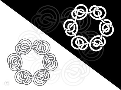 Celtic knot logo design eternity infinity scottish irish round unique traditional loops interlaced black and white logo design mithology knotwork knots intertwined celtic knot logotype logo design