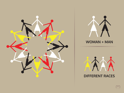 Racial and gender equality logo concept peace love men and women female male human race differences tolerance circle genders races equality graphic design design logo logotype logo design