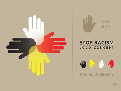 Stop racism logo concept yellow black white red equality love peace tolerance human races racism stop racial diversity graphic design logo logotype logo design