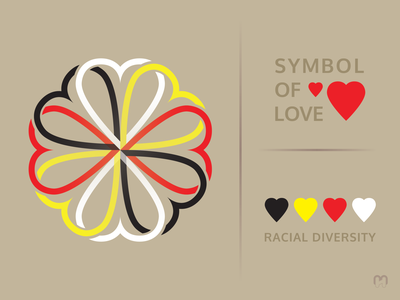 Love between people of different races Logo Concept european asian african native american red yellow white black equal rights social justice peace human races freedom humanity love equality human rights graphic design logotype logo design