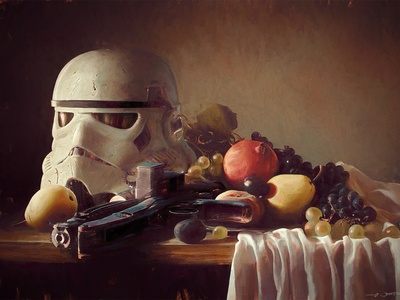 Trooper helmet on Still life classical illustration still life digital painting painting stilllife helmet stormtrooper