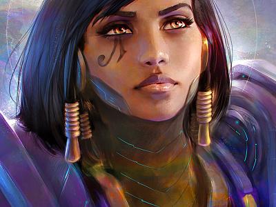Pharah portrait illustration digital painting blizzard game art overwatch pharah