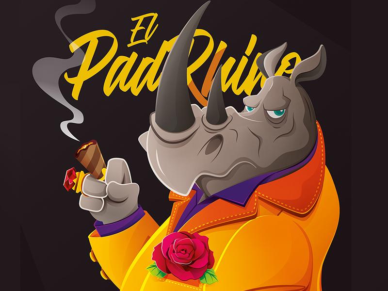 Elpadrhino Dibbble calambuco mafia rose the-godfather rhino character-design ilustration