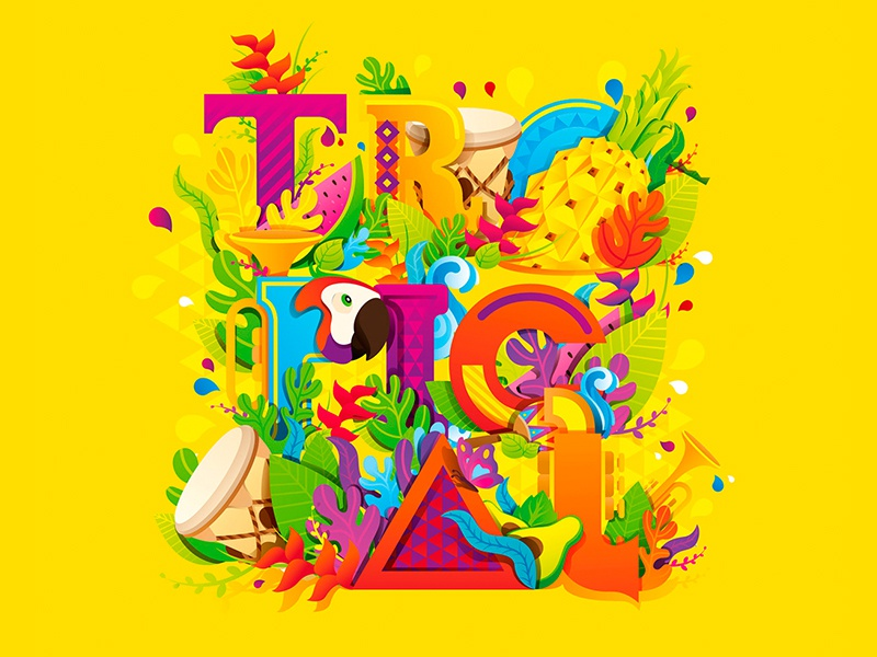Tropical cumbia colombia flower music bird pineapple type typography tropical