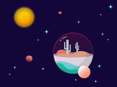 Galactic Paradise Illustration icon space planets planet flat vector illustrator design illustration