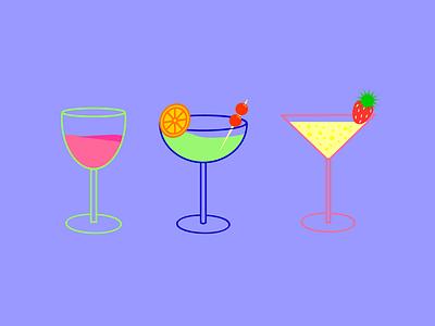Summertime Cocktails mood summertime fun drinks summer cocktails vector design flat illustrator illustration graphic design