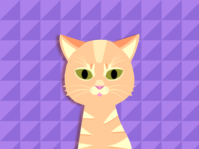 Wick the Cat poster illustrator identity icon drawing creative vector animal cute kitty purple 2d cartoon character love color cat illustration flat design