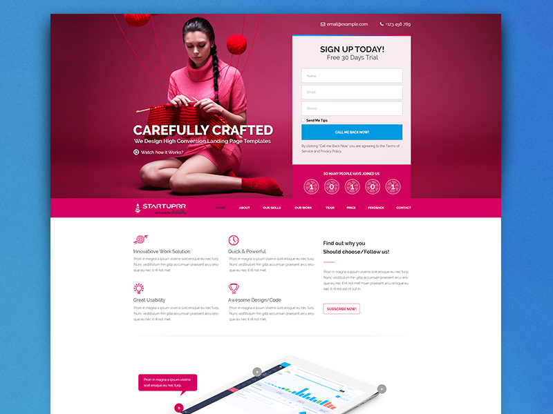 Free Psd Startuprr Landing Page Template Giveaway One Theme Themeforest Pink Giveway