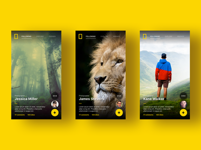 National Geographic - Mobile App profile interaction gif slide phone swipe gallery app mobile national geographic