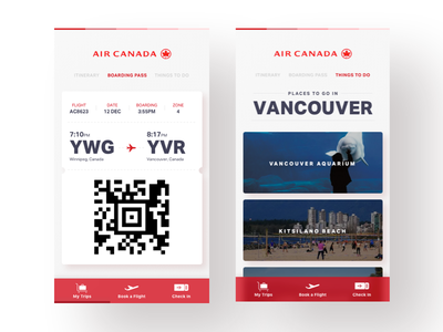 Air Canada - App Concept airport vancouver mobile app airline flight boarding pass travel air canada