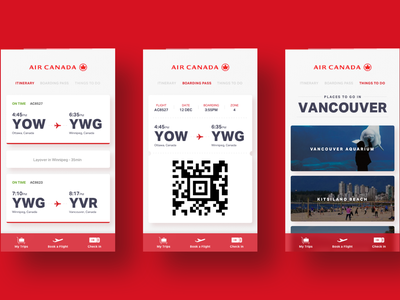 Air Canada - Interaction Demo vancouver ottawa ae after effects principle gif app travel boarding pass canada air canada
