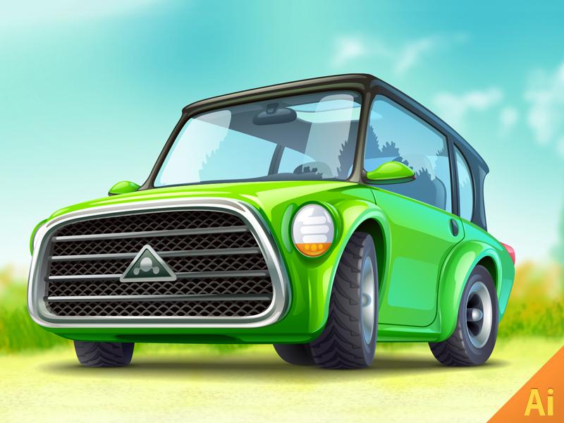 Green Ecocar concept ecocar auto green car car ericons illustrator illustration vector funny kolopach icon