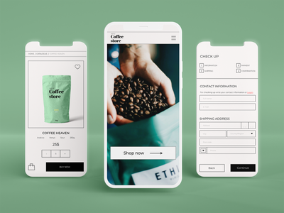 Mobile website design I coffee shop website ux adaptive design e-commerce shop mobile design uxui design mobile web design ui
