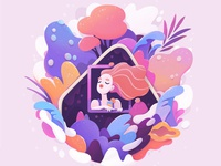 home sweet home nature concept cartoon character abstract illustration zutto