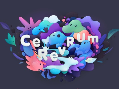 Cerevrum logo illustration vr vector design cartoon logo branding concept lettering character abstract illustration zutto