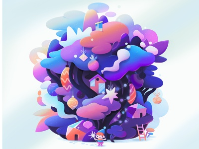 happy new year concept animation character abstract illustration zutto