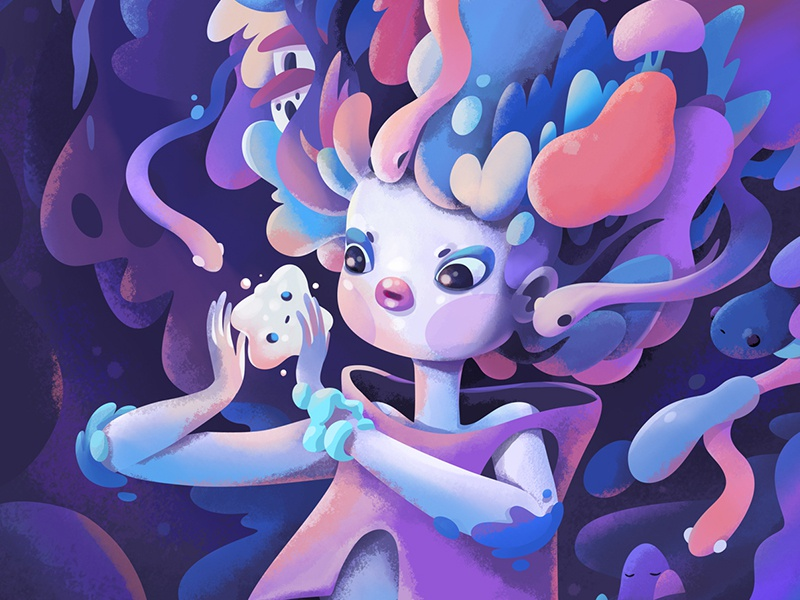 Spirits sketch color concept cartoon abstract character illustration zutto