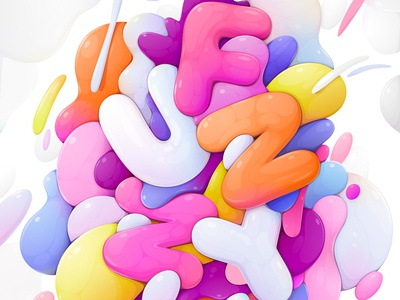 FUZZY/FUNNY lettering abstract vector illustration zutto