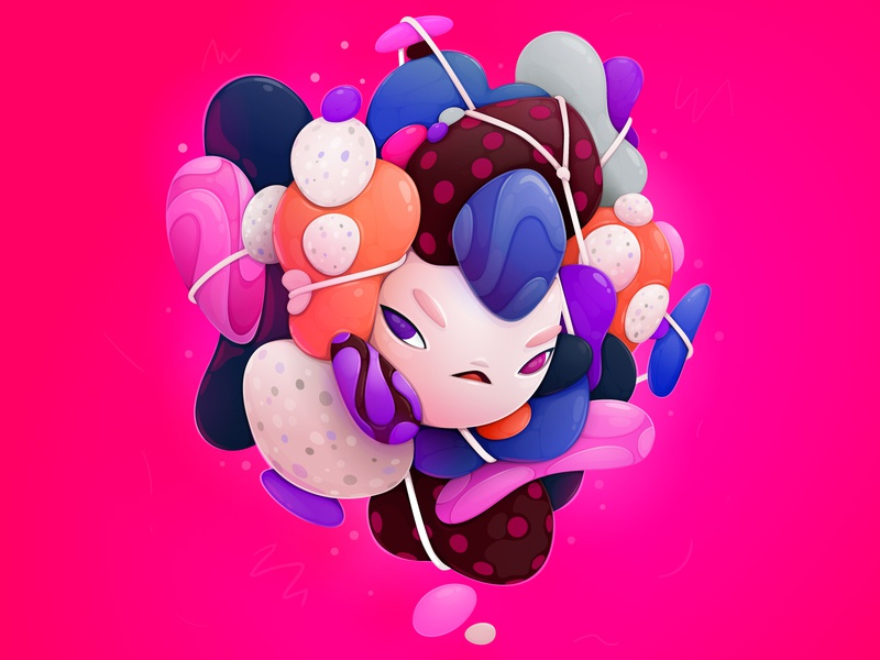 tangled cartoon character abstract vector illustration zutto