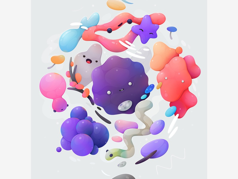 bacteria cartoon character abstract vector zutto illustration
