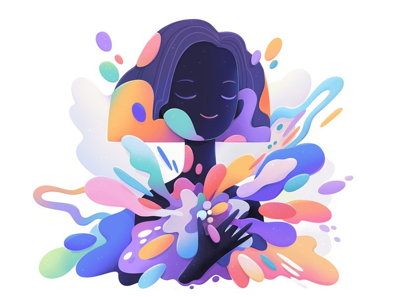 all colors cartoon advertising character abstract design illustration zutto