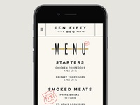 Ten 50 BBQ Mobile Menu