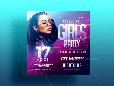 Girls Flyer Template nightlife design psd flyer nightclub flyer girls night out flyer sexy girl only for girls party club nightclub creative graphic design photoshop flyer templates