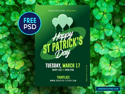 Free Psd Flyer - St Patrick's Day Party poster creative graphic design flyer templates phtoshop free psd flyer free psd free prints print invites greeting cards greetings invitation irish pub beer green clovers