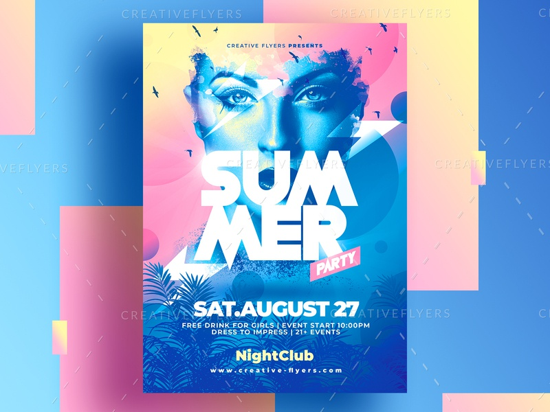 Summer Flyer PSD - Adobe Photoshop gradient color summer party flyer invites design psd psd flyer poster photoshop graphic design flyer templates adobe photoshop flyer psd